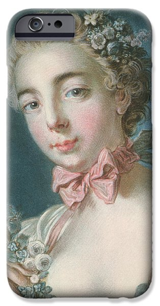 Flora Drawings iPhone Cases - Head Of Flora iPhone Case by Francois Boucher