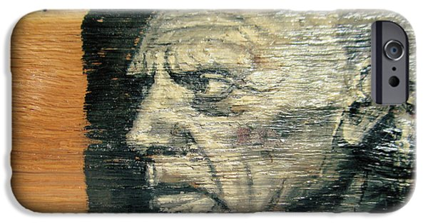 Icons Reliefs iPhone Cases - Pablo Picasso Face Portrait - Painting On The Wood iPhone Case by Nenad  Cerovic