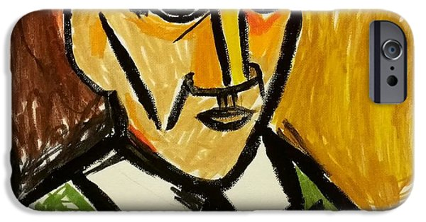 Gloss Varnish iPhone Cases - Pablo Picasso  self-portrait 1907 remake iPhone Case by Paulo Guimaraes