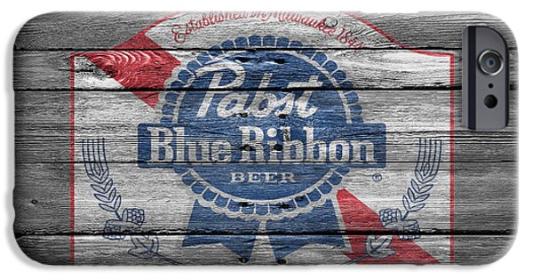 Sign iPhone Cases - Pabst Blue Ribbon Beer iPhone Case by Joe Hamilton