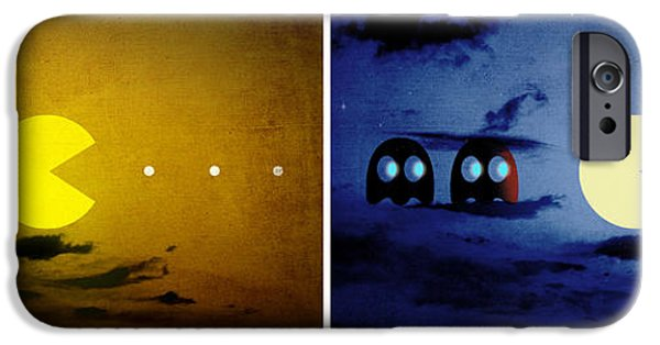 Pacman iPhone Cases - Pac-scape Orizontal Diptych iPhone Case by Filippo B