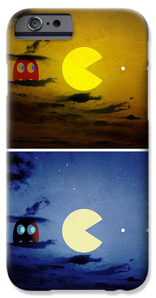 Pacman iPhone Cases - Pac-scape Vertical Diptych iPhone Case by Filippo B