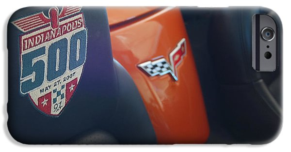 Indy Car iPhone Cases - Pace Ride - Indianapolis 500 Corvette iPhone Case by Steven Milner