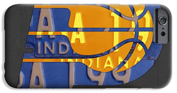 Pacers iPhone Cases - Pacers Basketball Team Logo Vintage Recycled Indiana License Plate Art iPhone Case by Design Turnpike