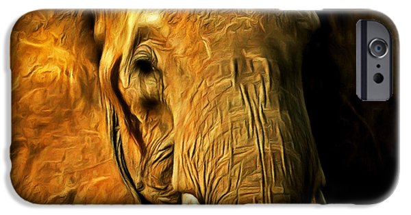 Elephant iPhone Cases - Pachyderm 20150210brun square iPhone Case by Wingsdomain Art and Photography