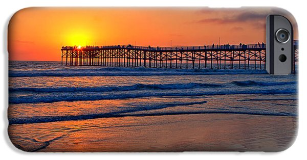 Crystal iPhone Cases - Pacific Beach Pier - EX Lrg - Widescreen iPhone Case by Peter Tellone