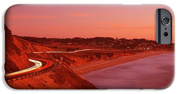 Ocean Sunset iPhone Cases - Pacific Coast Highway At Sunset iPhone Case by Panoramic Images