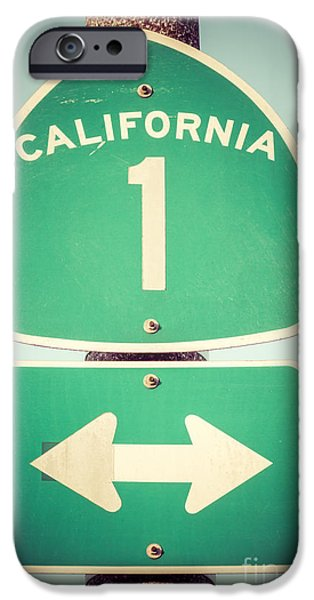 Arrow iPhone Cases - Pacific Coast Highway Sign California State Route 1  iPhone Case by Paul Velgos