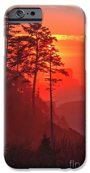 Ocean Sunset iPhone Cases - Pacific Fire And Fog iPhone Case by Adam Jewell