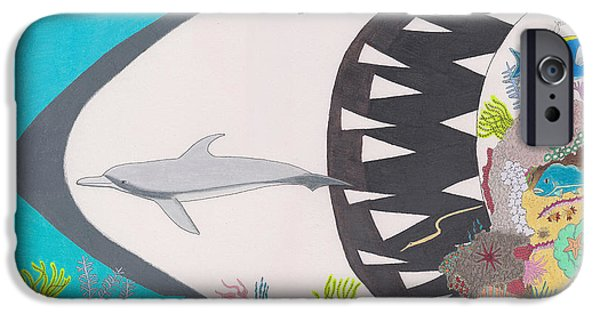 Shark Drawings iPhone Cases - Pacific Peril iPhone Case by John Wiegand