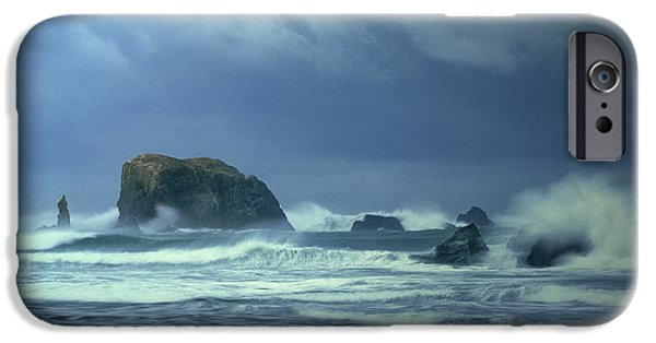 Dave iPhone Cases - Pacific Storm Bandon Beach Oregon iPhone Case by Dave Welling