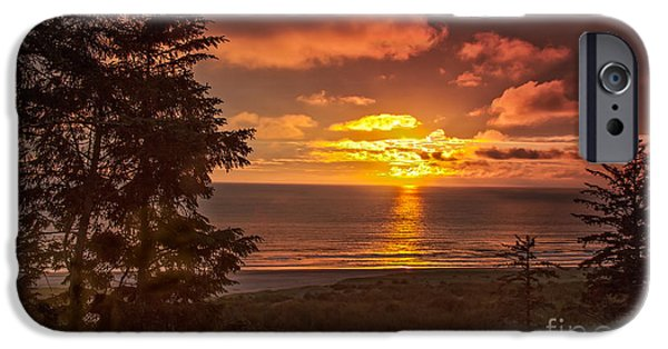 Haybale iPhone Cases - Pacific Sunset iPhone Case by Robert Bales