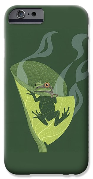 Paintings iPhone Cases - Pacific Tree Frog in Skunk Cabbage iPhone Case by Nathan Marcy