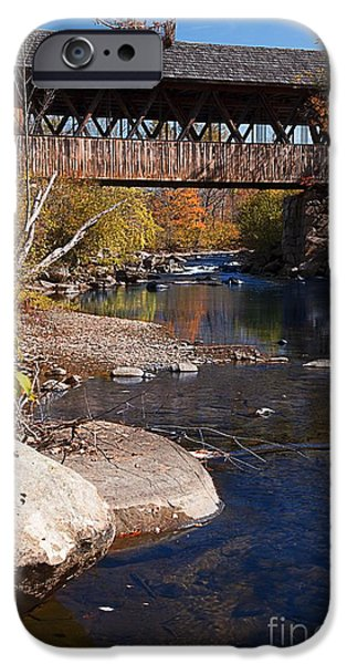 Covered Bridge iPhone Cases - PACKARD HILL BRIDGE Lebanon New Hampshire iPhone Case by Edward Fielding