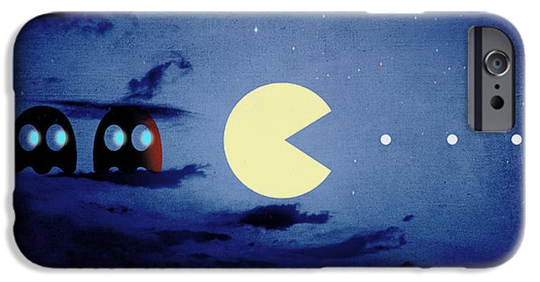 Pacman iPhone Cases - Pacman night-scape iPhone Case by Filippo B