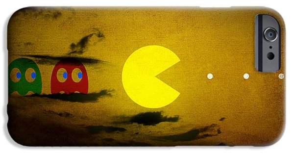 Pacman iPhone Cases - Pacman-scape iPhone Case by Filippo B