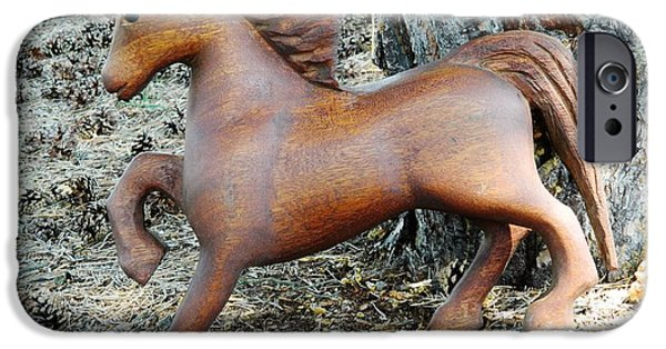 Horse Sculptures iPhone Cases - Padauk Horse iPhone Case by Marlowe Frantz