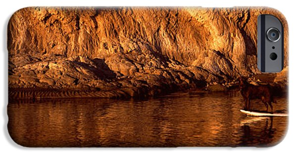One iPhone Cases - Paddle-boarder In River, Santa Barbara iPhone Case by Panoramic Images