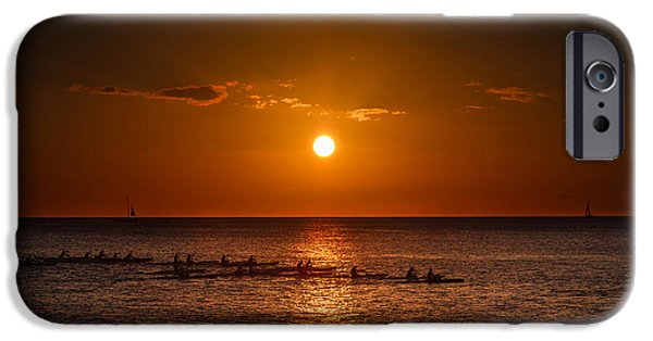 Kayak iPhone Cases - Paddle into the sunset in Hawaii iPhone Case by Tin Lung Chao