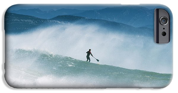 Luz iPhone Cases - Paddleboarding In The Waves Along The iPhone Case by Ben Welsh