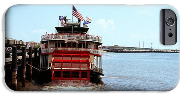 American Flag iPhone Cases - Paddleboat Natchez In A River iPhone Case by Panoramic Images