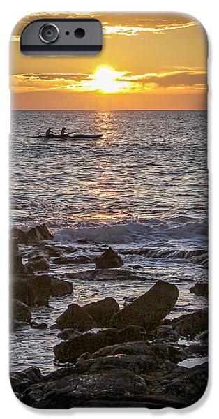 Canoe iPhone Cases - Paddlers At Sunset Portrait iPhone Case by Denise Bird