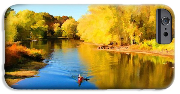 Concord Digital Art iPhone Cases - Paddling Down the Concord River iPhone Case by Tom Christiano