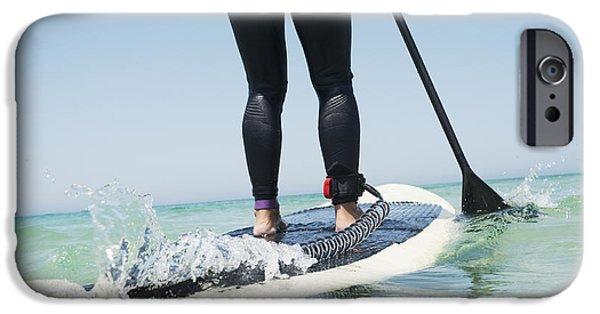 Wet Suit iPhone Cases - Paddling On A Surfboardtarifa Cadiz iPhone Case by Ben Welsh