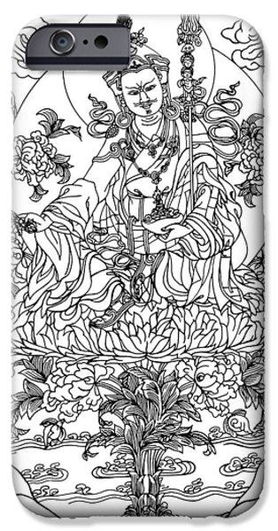 Buddhism Drawings iPhone Cases - Padmasambhava iPhone Case by Karma Moffett