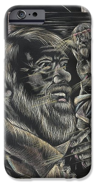 Michelle Drawings iPhone Cases - Padre Pio iPhone Case by Michelle Miller