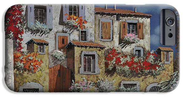 Old Village iPhone Cases - Paesaggio Al Chiar Di Luna iPhone Case by Guido Borelli