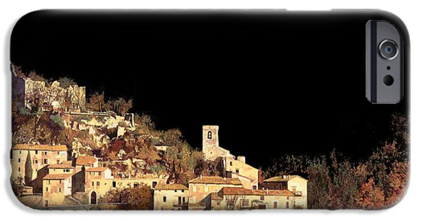 Mood Paintings iPhone Cases - Paesaggio Scuro iPhone Case by Guido Borelli