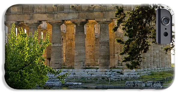 Hera iPhone Cases - Paestum, Hera, Ruins, Campania, Italy iPhone Case by Charles Bowman