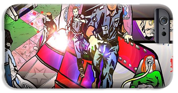 Police Art Drawings iPhone Cases - Page 8 and 9 iPhone Case by Justin Moore