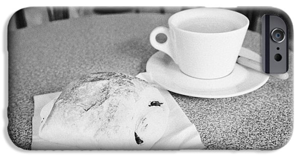 Food Paining iPhone Cases - Pain Au Chocolate And Cafe Au Lait  In A Cafe Bar In France iPhone Case by Joe Fox