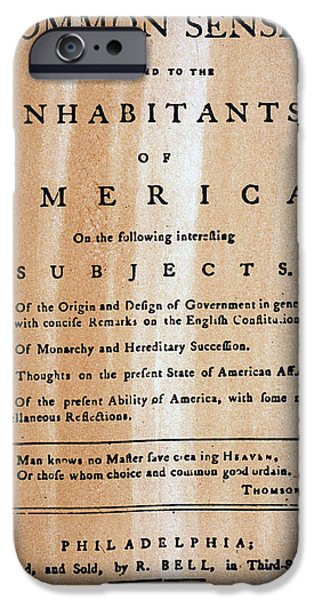 PAINE: COMMON SENSE, 1776 iPhone Case by Granger