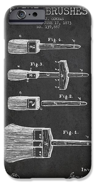 Painter Digital Art iPhone Cases - Paint brushes Patent from 1873 - Charcoal iPhone Case by Aged Pixel