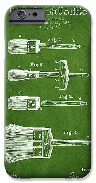 Painter Digital Art iPhone Cases - Paint brushes Patent from 1873 - Green iPhone Case by Aged Pixel