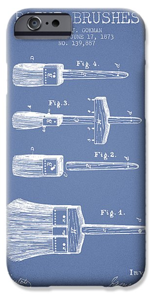 Painter Digital Art iPhone Cases - Paint brushes Patent from 1873 - Light Blue iPhone Case by Aged Pixel