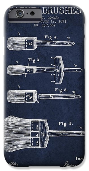Painter Digital Art iPhone Cases - Paint brushes Patent from 1873 - Navy Blue iPhone Case by Aged Pixel