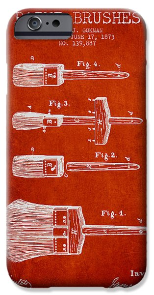 Painter Digital Art iPhone Cases - Paint brushes Patent from 1873 - red iPhone Case by Aged Pixel