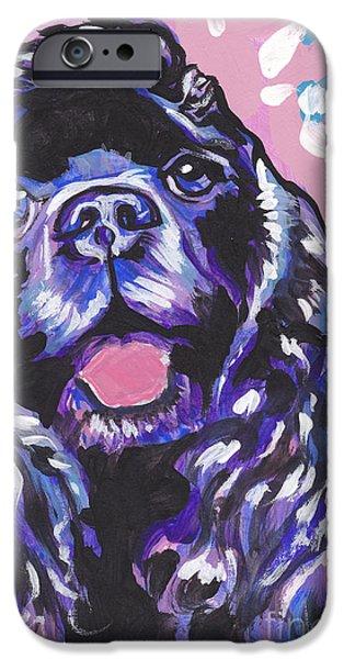 Cocker Spaniel Paintings iPhone Cases - Paint it Black iPhone Case by Lea