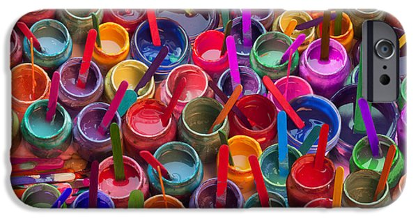 Playful Digital iPhone Cases - Paint Jars Popsicle Stix iPhone Case by Alixandra Mullins