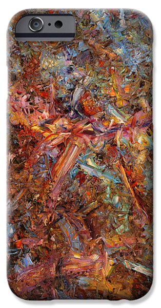 Abstract Expressionism Paintings iPhone Cases - Paint number 43 iPhone Case by James W Johnson