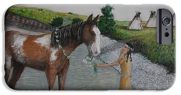 The Horse iPhone Cases - Paint Pony Original For Sale iPhone Case by Larry Lamb