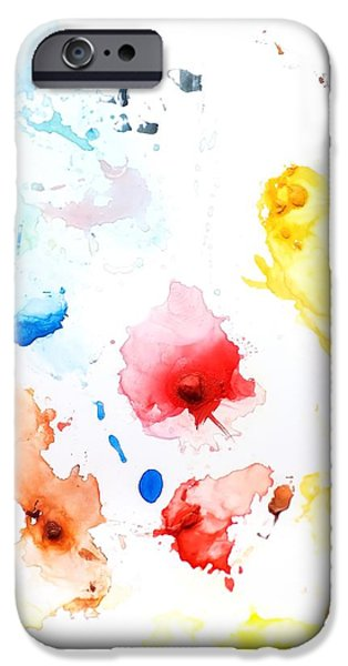 Paint Splatters And Paint Brush iPhone Case by Chris Knorr
