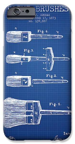 Painter Digital Art iPhone Cases - Paintbrushes Patent from 1873 - Blueprint iPhone Case by Aged Pixel