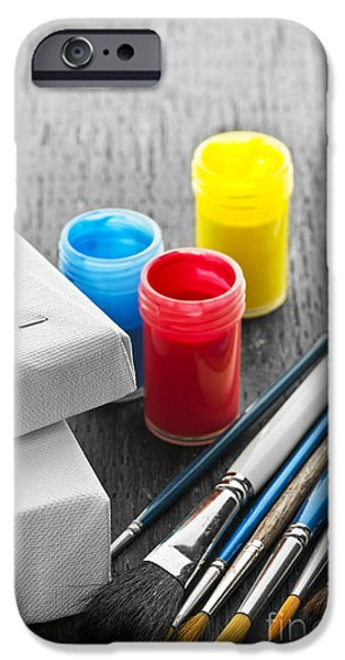 Painter Photographs iPhone Cases - Paintbrushes with canvas iPhone Case by Elena Elisseeva