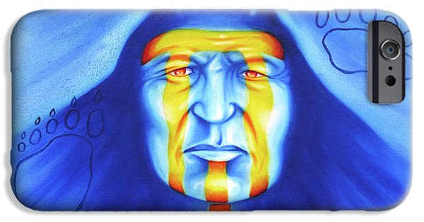 Native American Spirit Portrait iPhone Cases - Painted Bear iPhone Case by Robert Martinez