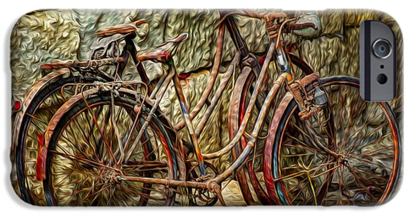 Velo iPhone Cases - Painted Bikes iPhone Case by Debra and Dave Vanderlaan